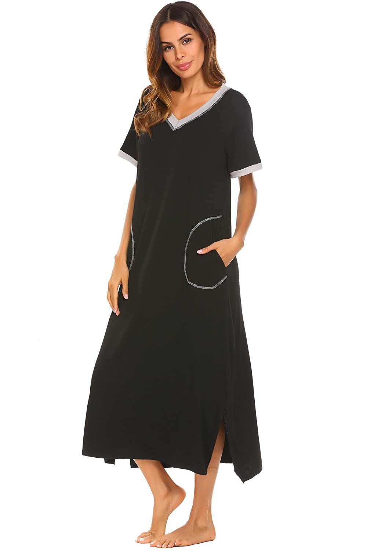 Cooshional Women's Nightdress Nightshirt, Short Sleeve Nightgown V-Neck Full Length Nightwear with Pocket S-XXL FBA
