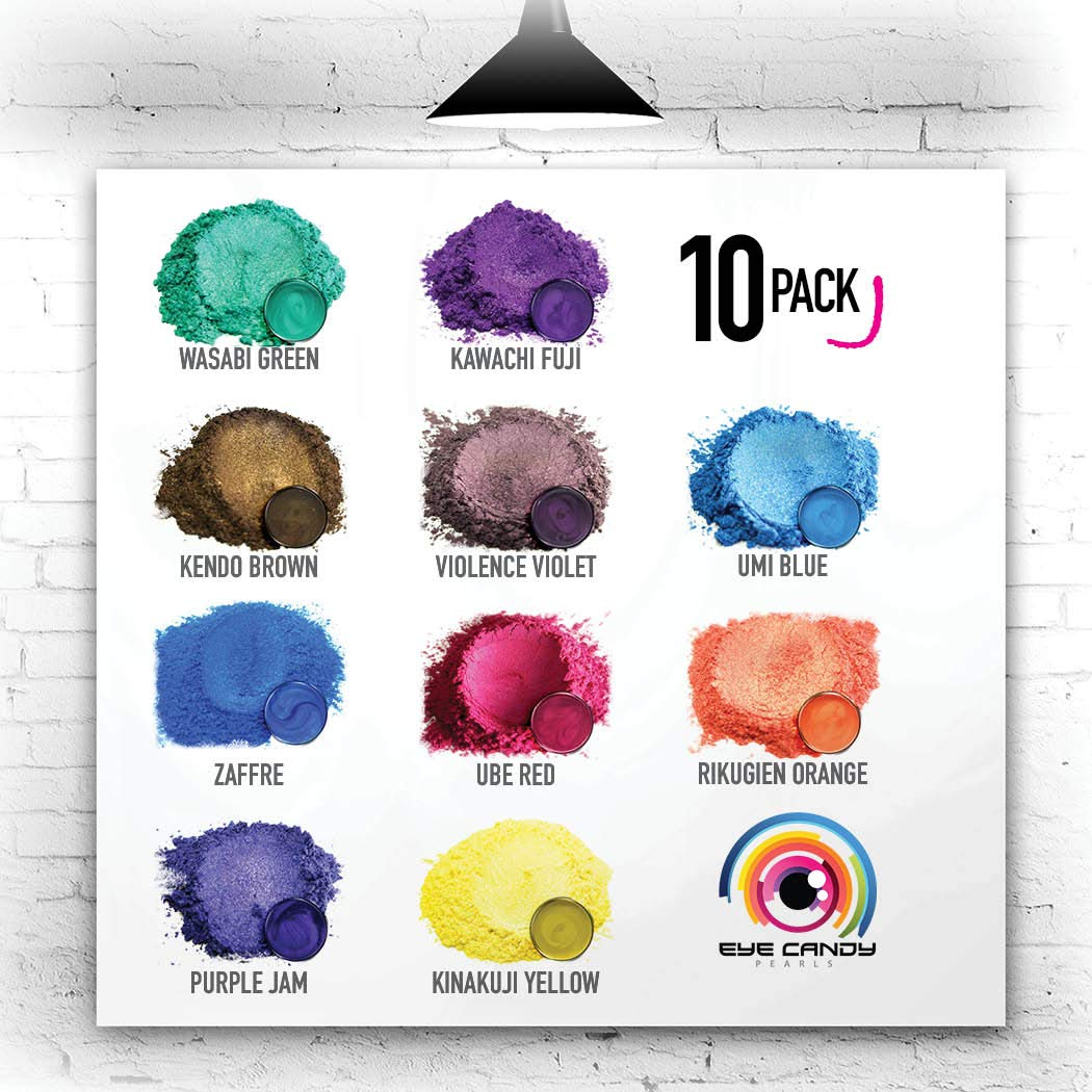Eye Candy Mica Powder - Pigment Powder 10-Pack Set J - Colorant for Epoxy - Resin - Woodworking - Soap Molds - Candle Making - Slime - Bath Bombs - Nail Polish - Cosmetic Grade - Non-Toxic