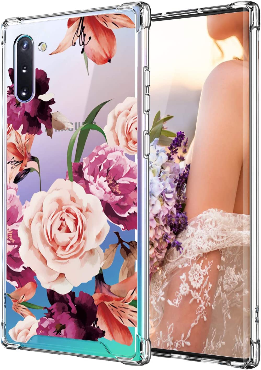 Cutebe Case for Galaxy Note 10, Shockproof Series Hard PC+ TPU Bumper Protective Case for Samsung Galaxy Note 10 2019 Release Floral Design