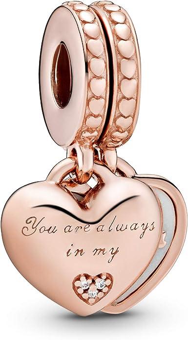 Pandora Jewelry You're Always in My Heart Split Dangle Cubic Zirconia Charm  in Pandora Rose
