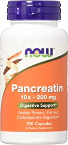 NOW Supplements, Pancreatin 10X 200 mg with naturally occurring Protease (Protein Digesting), Amylase (Carbohydrate Digesting), and Lipase (Fat Digesting) Enzymes, 100 Capsules