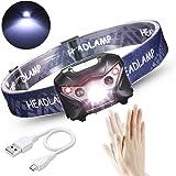 Greenclick Linterna Frontal LED USB Recargable, Sensor de Infrarrojos Súper Ligero 3W LED Faros, Luz de la Cabeza para Correr Acampar Pescar Senderismo Ciclismo Caza