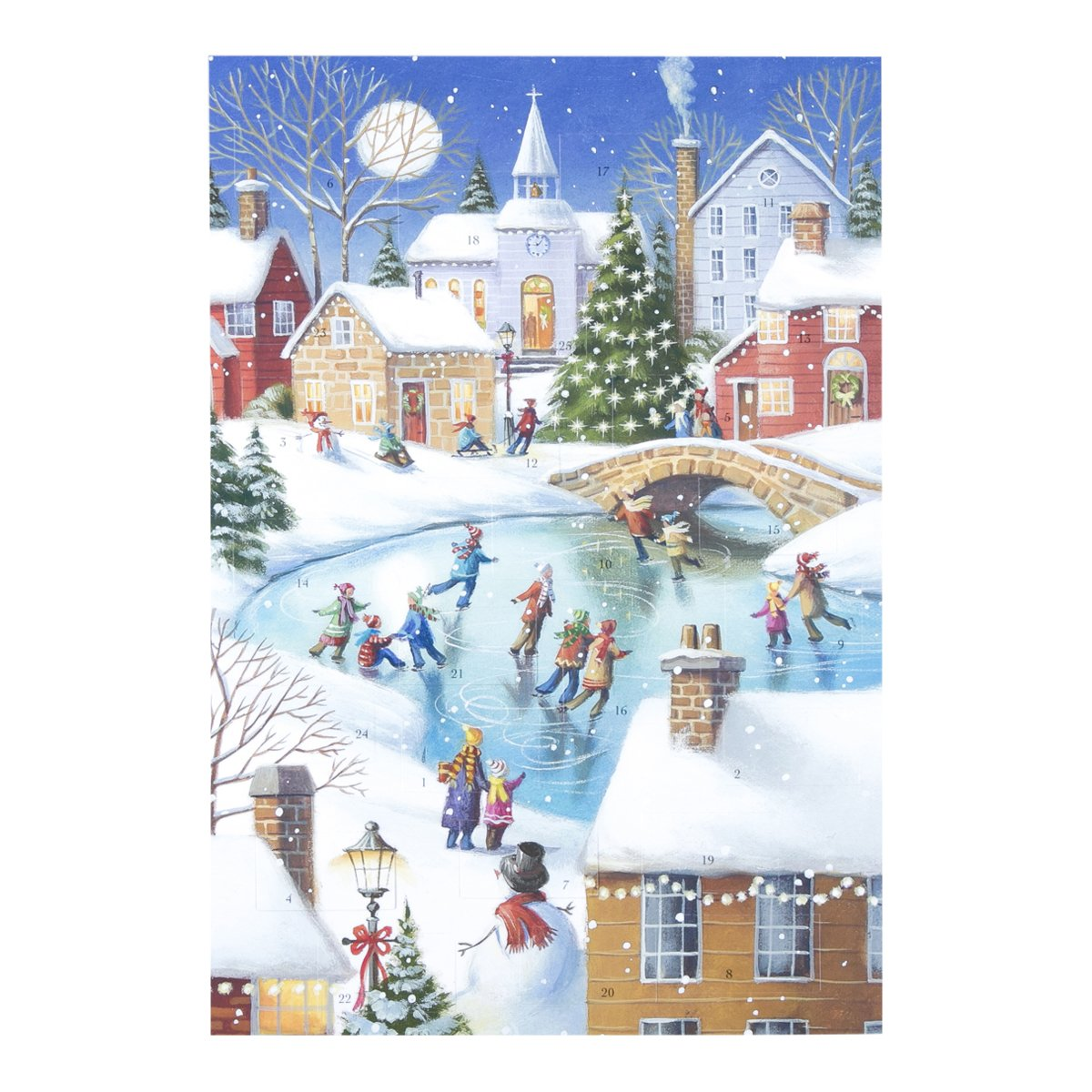 Christmas Advent Calendar with Magnet - Snow Town