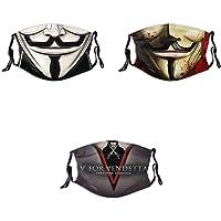 3Pcs Men Women's Cosplay Face Mask Adjustable Reusable with Adjustable EarLoops Bandana Balaclava