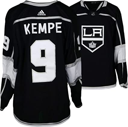 15d2ad75620 Adrian Kempe Los Angeles Kings Game-Used #9 Black Jersey from the ...