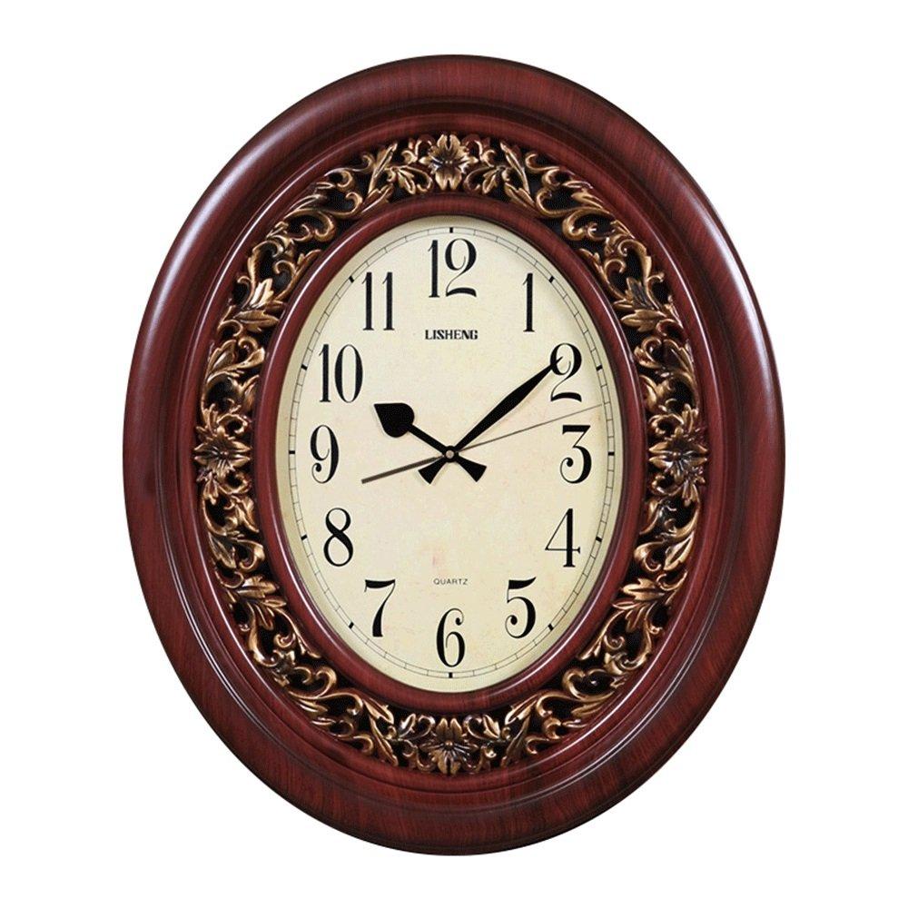 GDXRB 現代の古典的な壁時計ヨーロッパのキングサイズ模造木サイレントクォーツ時計、リビングルーム、寝室、レストラン、オフィスの装飾に適しています (Color : 褐色, スタイル : A) B07DCZ782L褐色