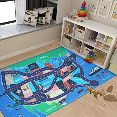"""2018 Kids Rug Area Play Mat Car Carpet with Road 4' 11"""" X 2' 7"""" Map of USA--High Definition(HD) with Non-Slip Backing Nontoxic for Playroom Bedroom Classroom Educational Learning & Game: Toys & Games"""