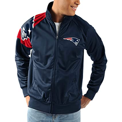 G-III Sports New England Pariots Interception Full-Zip NFL Track Jacket -  Navy fecc5ae96