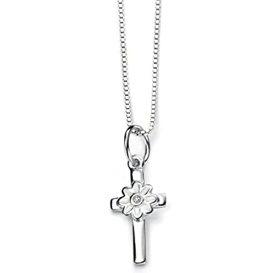 D for Diamond 9ct Gold Small Cross Pendant on a Chain of Length 35.5cm J6ARMHuy