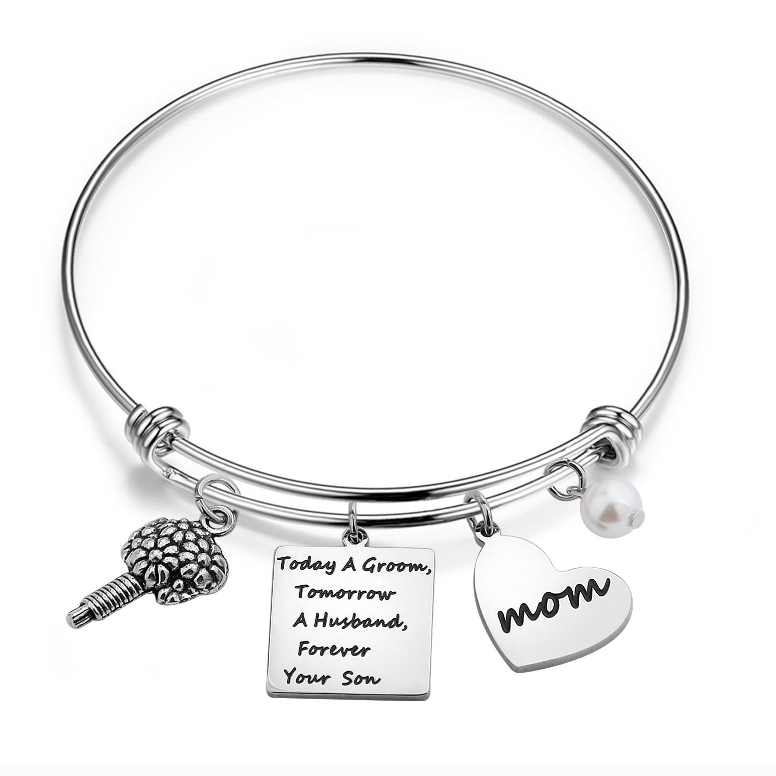 WUSUANED Mother in Law Bracelet Today a Groom Tomorrow a Husband Forever Your Son Gift from Son or Daughter in Law (Mother of Groom Bracelet)