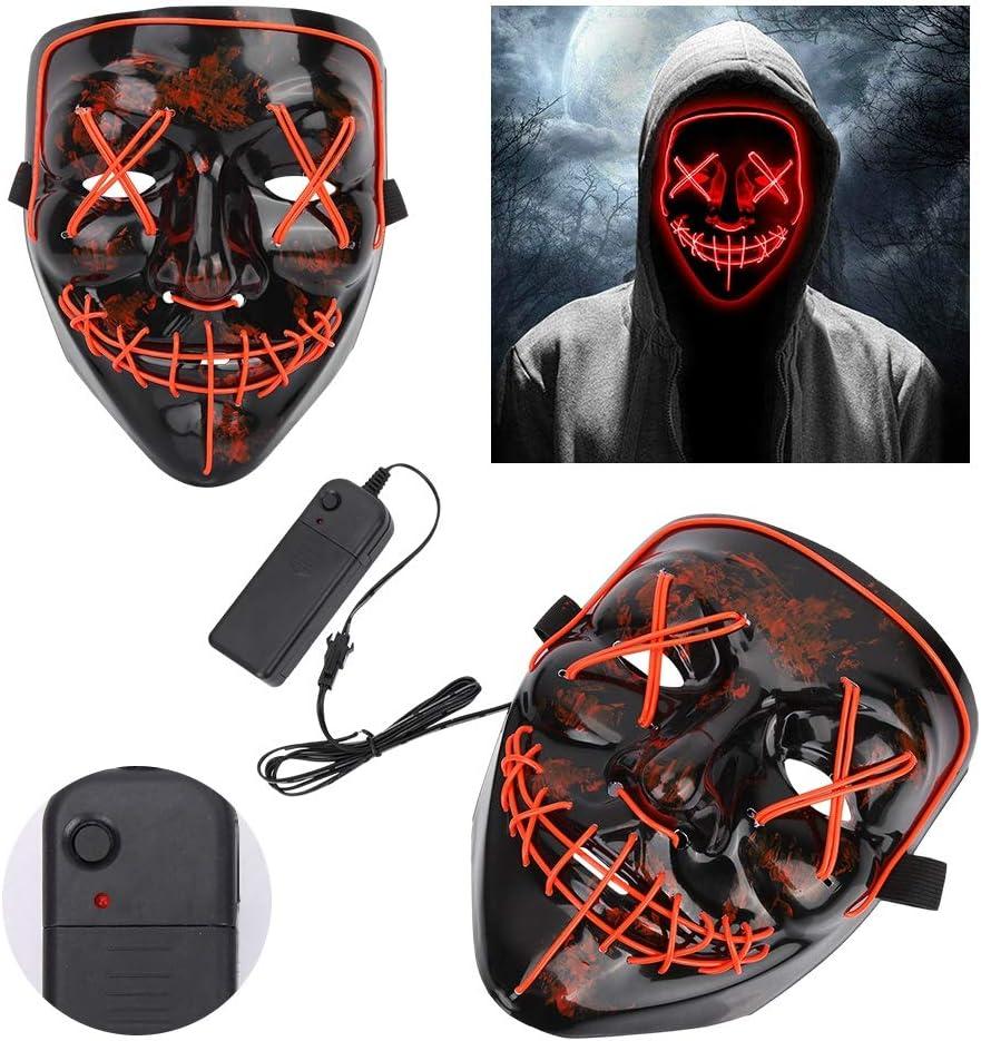 Rosso LED Light Up Glow Maschera Maschera di Forma Luminosa Spaventoso per Party Show Costume di Scena VGEBY Maschera di Halloween