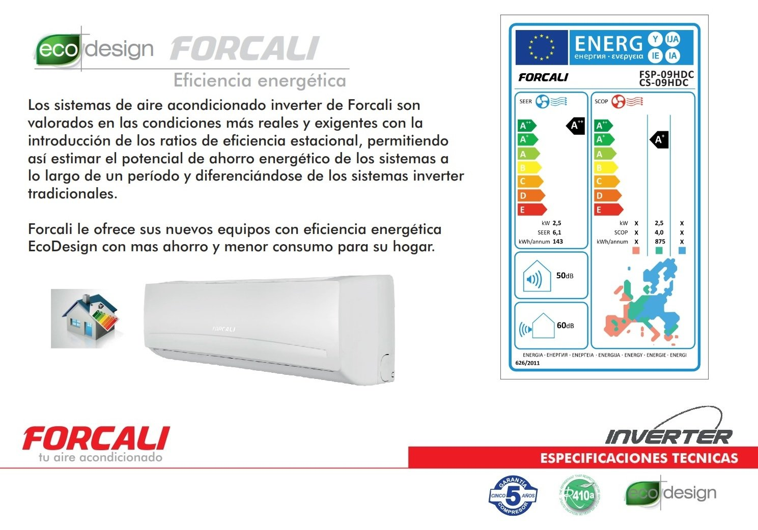 FORCALI Aire Acondicionado Split Inverter 3000 frig/h - Bomba Calor Platinum HDC: Amazon.es: Hogar
