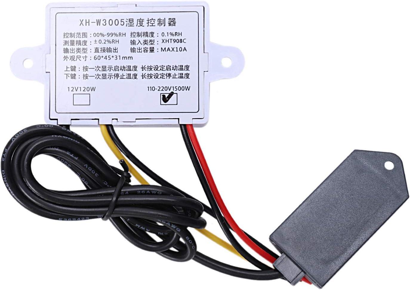 Senmubery Hygrometer Feuchte Regler F/ür Digitale Feuchte Regler 0-99/% Rh Hygrostat Mit Feuchte Sensor AC220V