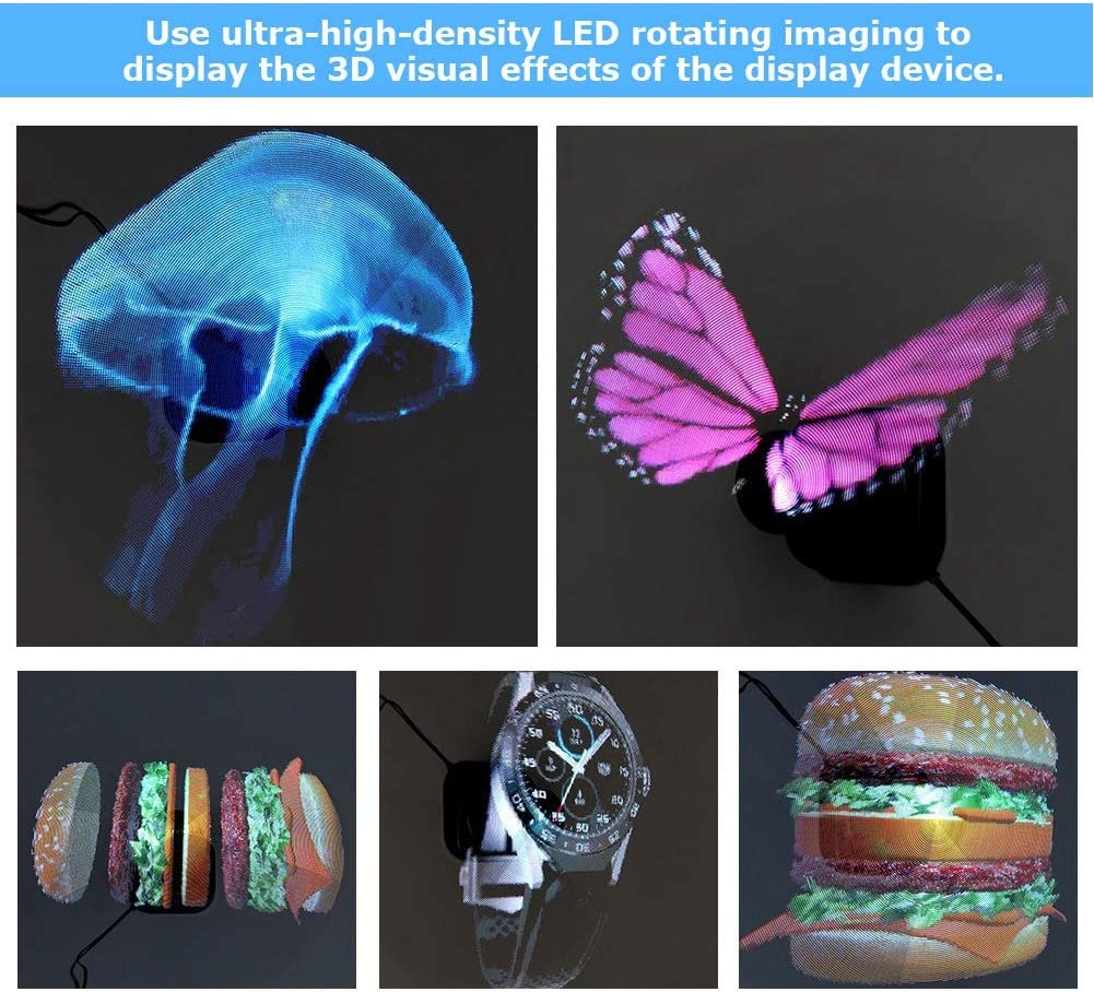 ASHATA 8g 3D Advertising Display Holographic Projector Normal WiFi Version HD Advertising Exhibition Projector LED Fan,3D Hologram Videos Advertising Projector for Store,Shop,Bar,Casino UK