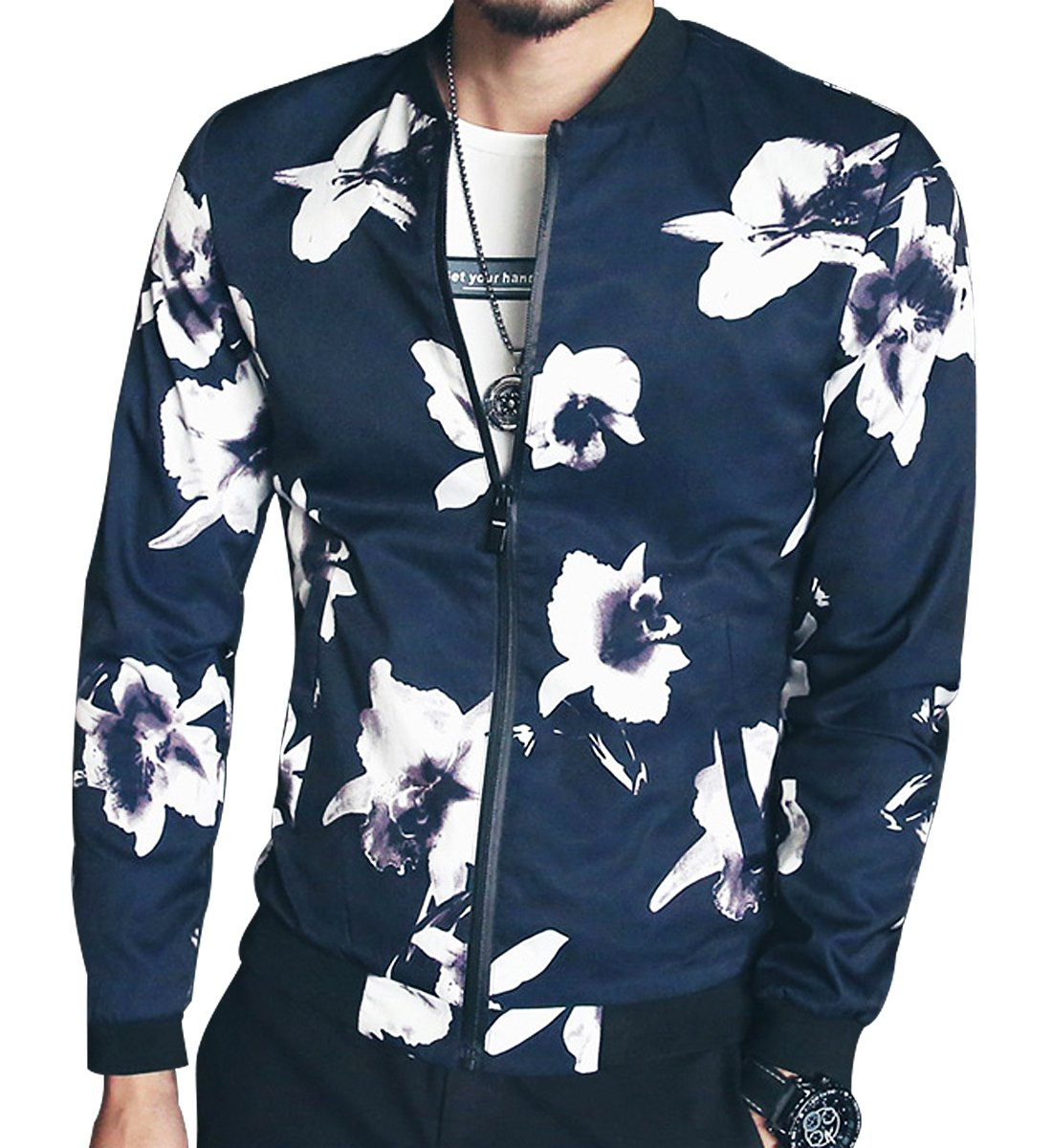 9da76bd0b SUSIELADY Mens Bomber Varsity Jacket Baseball Coat Fashion Casual Floral  Printed Long Sleeve Slim Fit Lightweight ...