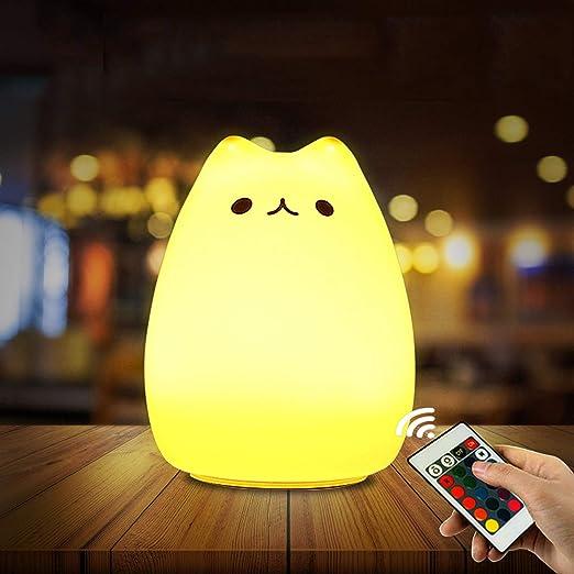 Luce Bianca Calda Umiwe Cute Kitty LED Luce di Notte dei Bambini I Bambini del Silicone del Gatto Lampada di Illuminazione Ricaricabile 7-Color respirazione USB
