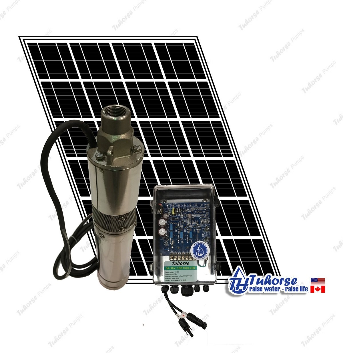 3'' 210W Solar Submersible Deep Well Pump, 1x 195W Solar Panel, 83 feet Cable Complete Kit. Tuhorse