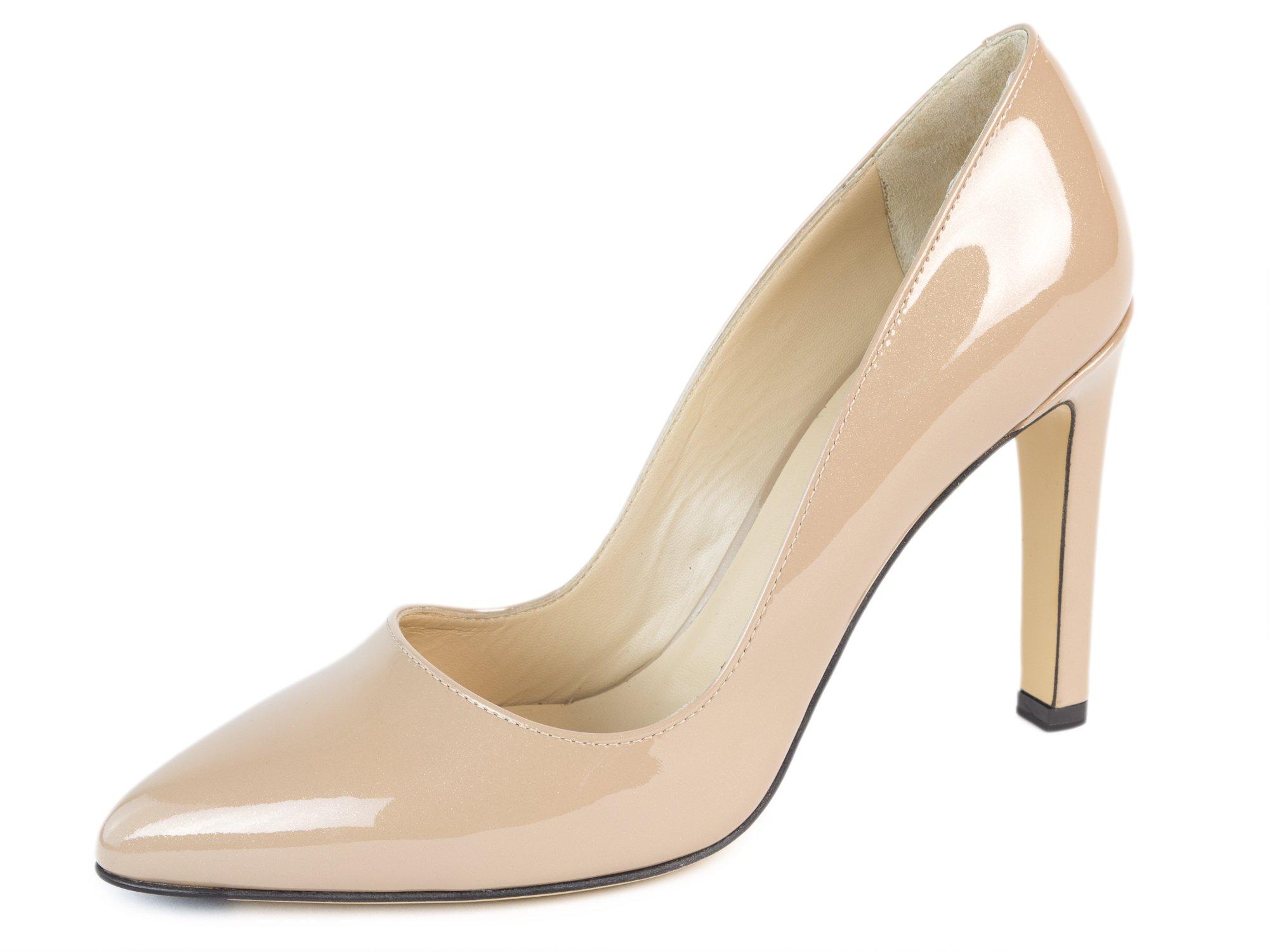 MaxMara Women's Flavia Patent Leather Pumps US 7.5/IT 37.5 Nude