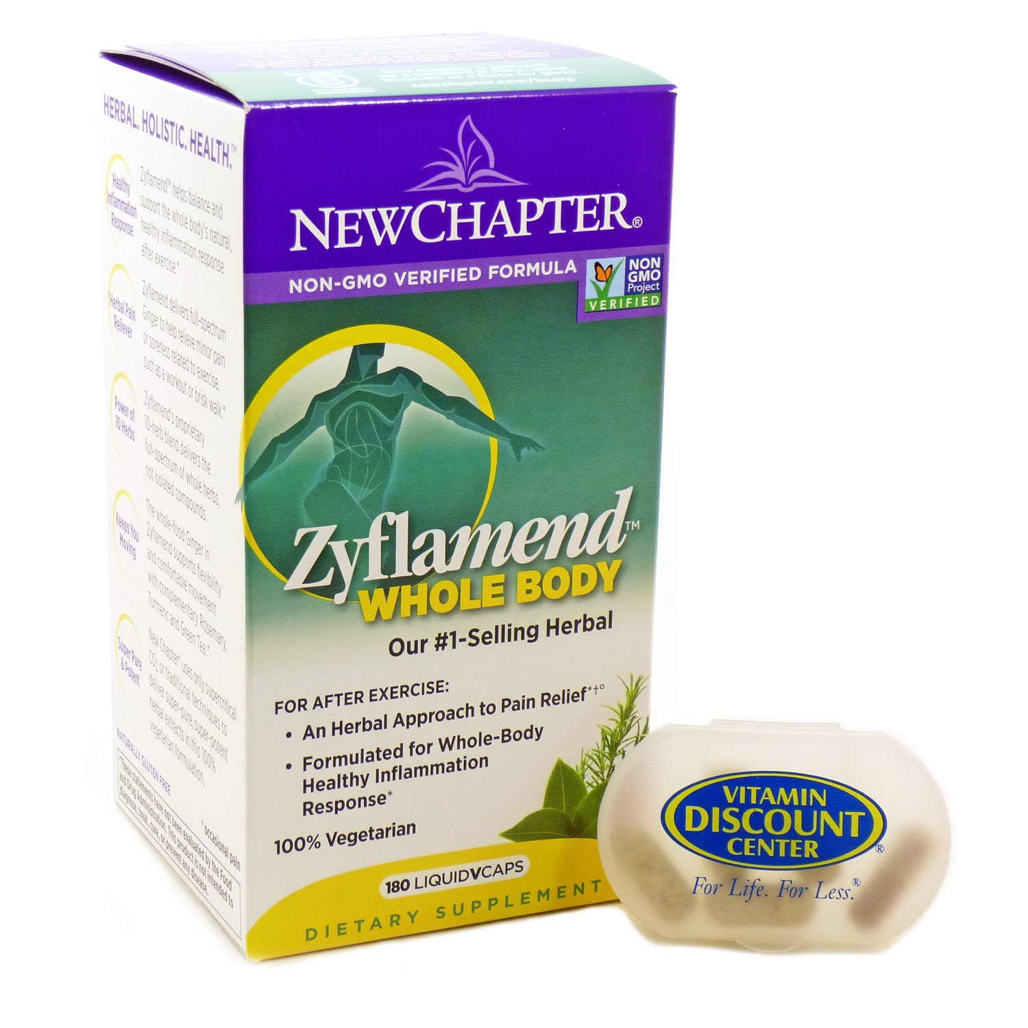 Bundle - 2 items: Zyflamend Whole Body By New Chapter - 180 LiquidVcaps and 1 VDC Pill Box by New Chapter