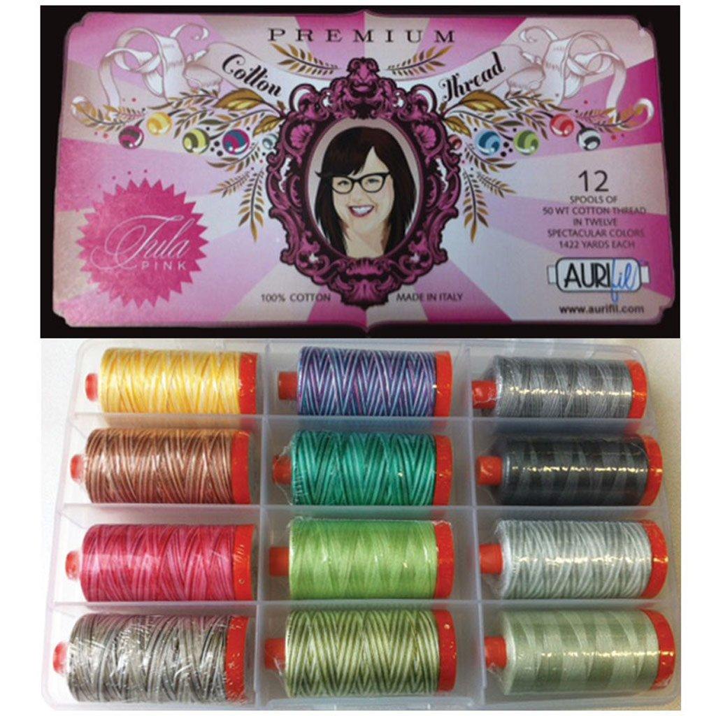 Aurifil Thread TULA PINK PREMIUM COLLECTION 50wt Cotton 12 Large Spools 1300m each by Aurifil   B00EISRDVO