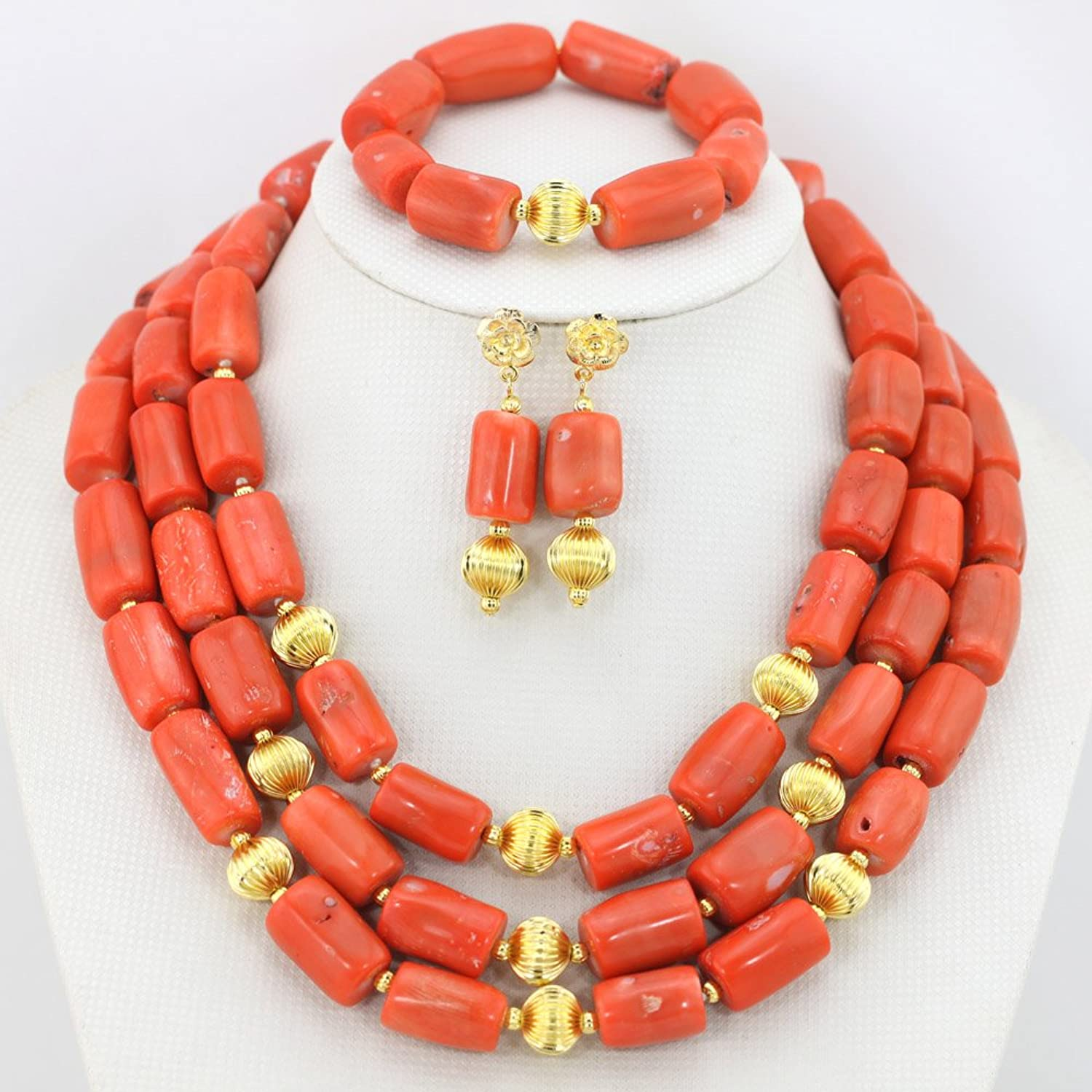 AfricanBeads 3-Row Orange Coral Woman Party Jewelry African Costume ...