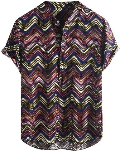 Camisa De Verano para Hombres Botón A Rayas De Solapa Ropa de ...
