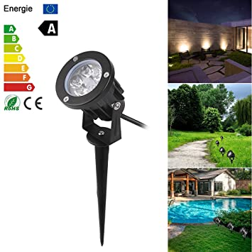 ONEVER LED Landscape Spotlight Outdoor, ABEDOE 7W 550Lumen Waterproof LED Lawn Lamp Lights with Spike