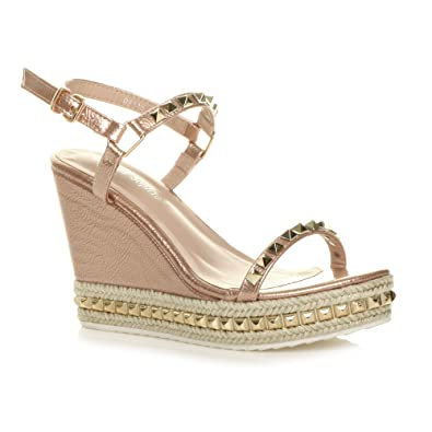 d497531ff78 Ajvani Womens Ladies high Wedge Heel Studded Platform Espadrilles Strappy  Sandals Size