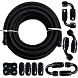 "EVIL ENERGY 20Ft 6AN 3/8"" Fuel Line Fitting Kit Nylon Braided CPE Oil Hose Universal Black"