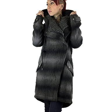 best service 43138 0e3da Khujo Winter Woll-Mantel mit großer Kapuze Maxine schwarz grau