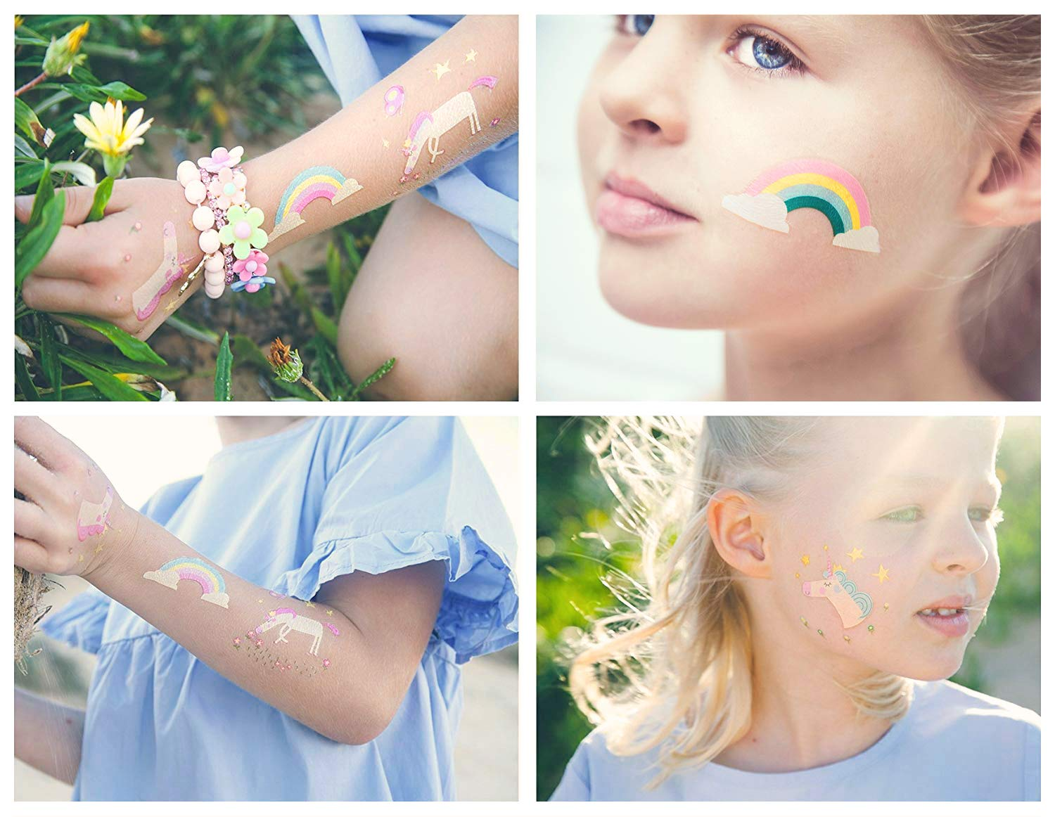 Unicorn Temporary Tattoos for Kids - Unicorn Party Favors, Birthday Decorations and Supplies - Non-toxic and Waterproof - Pack of 16 sheets (32 Fake Tattoos) 5