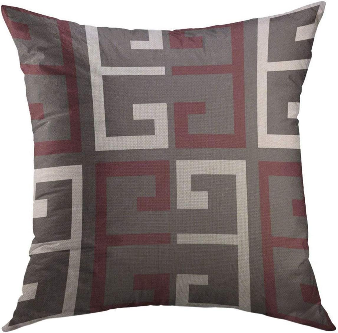 Mugod Decorative Throw Pillow Cover for Couch Sofa,Red Dark Gray Maroon White Colored Home Decor Pillow Case 18x18 Inch