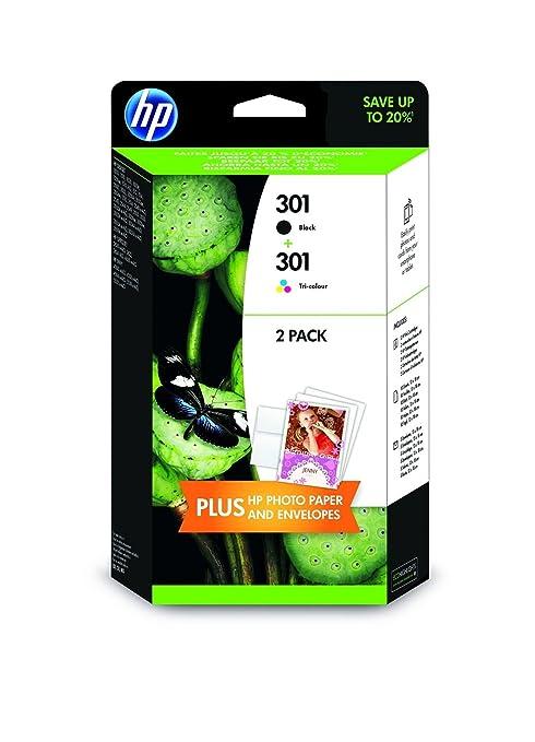 388 opinioni per HP 301- 2 Cartucce d'inchiostro, 5 Fogli di carta HP Advanced Photo Paper 13x18,