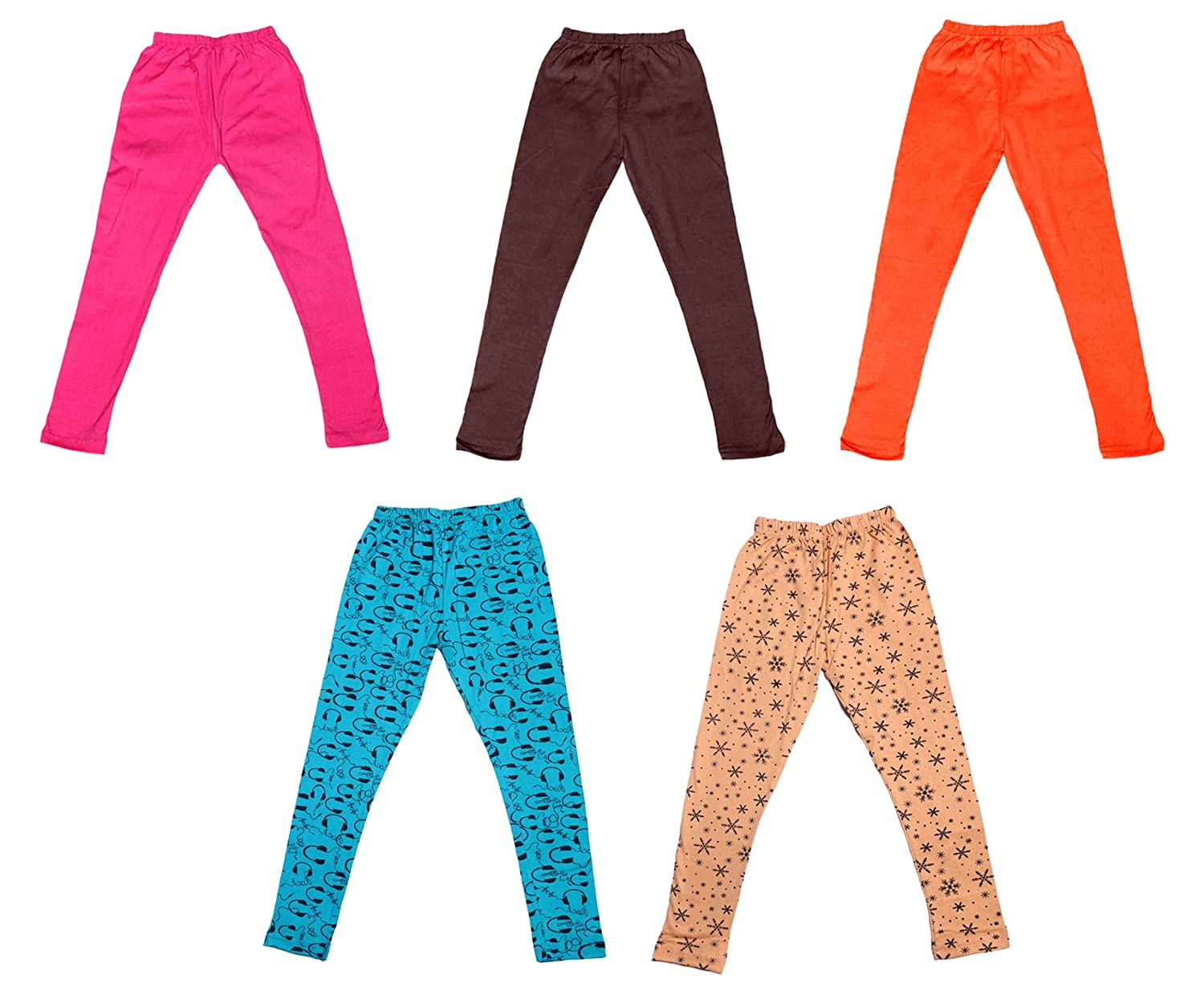 Pack Of 5 Indistar Girls 3 Cotton Solid Legging Pants and 2 Cotton Printed Legging Pants /_Multicolor/_Size-5-6 Years/_7141213141719-IW-P5-28