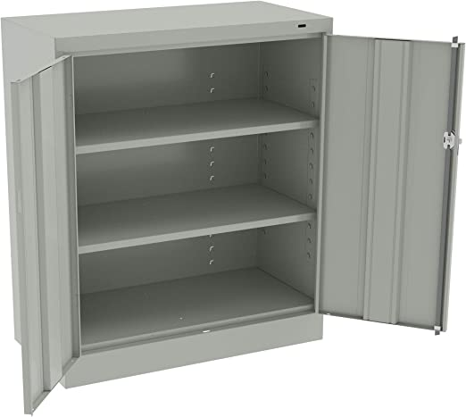 2 Adjustable Shelves 42-Inch by 36-Inch by 18-Inch Sandusky Lee RTA7001-09 Black Steel SnapIt Counter Cabinet