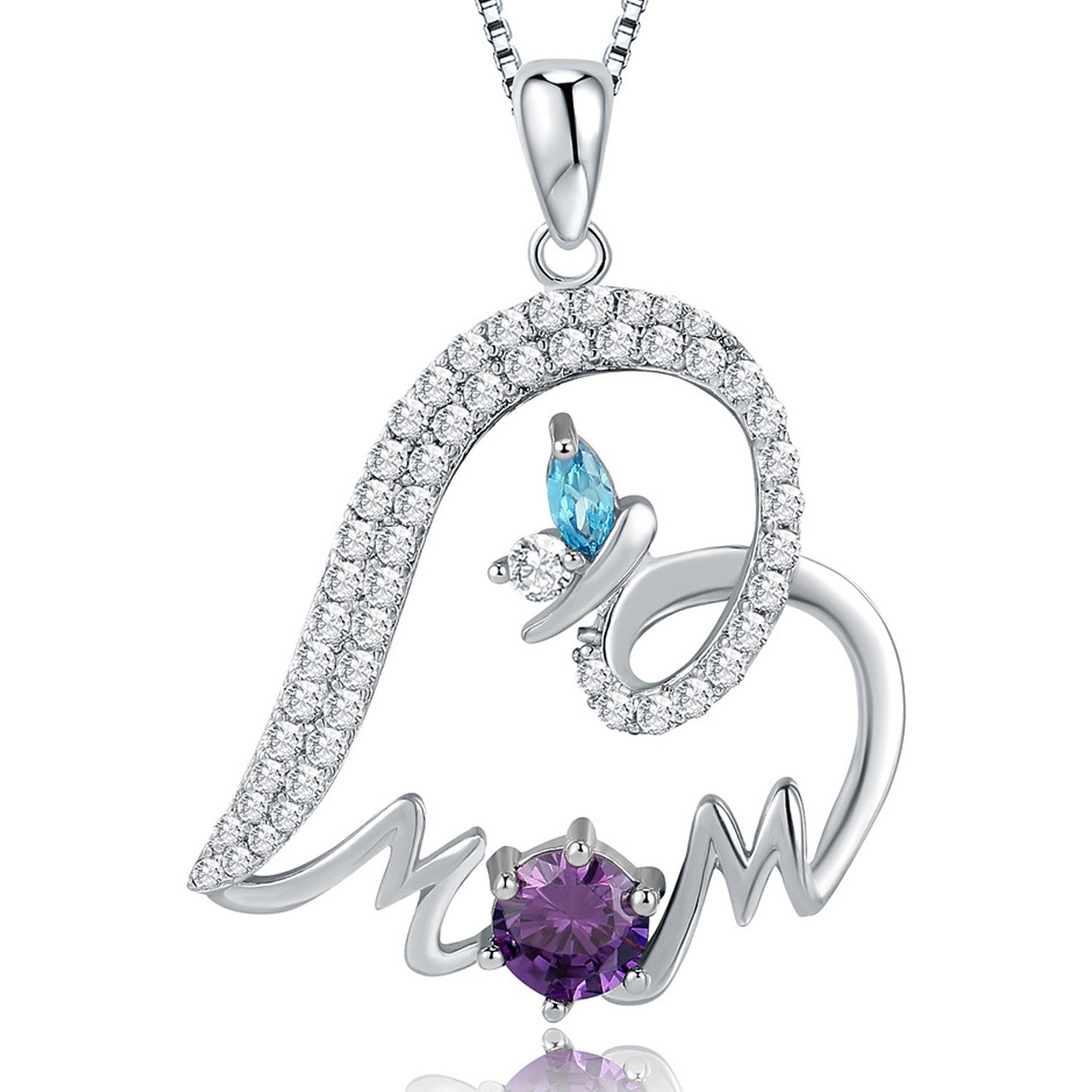 """Mom Love Heart Butterfly Pendant Necklace, Cubic Zirconia, Women Fashion Jewelry, Gift for Mother, 18"""""""