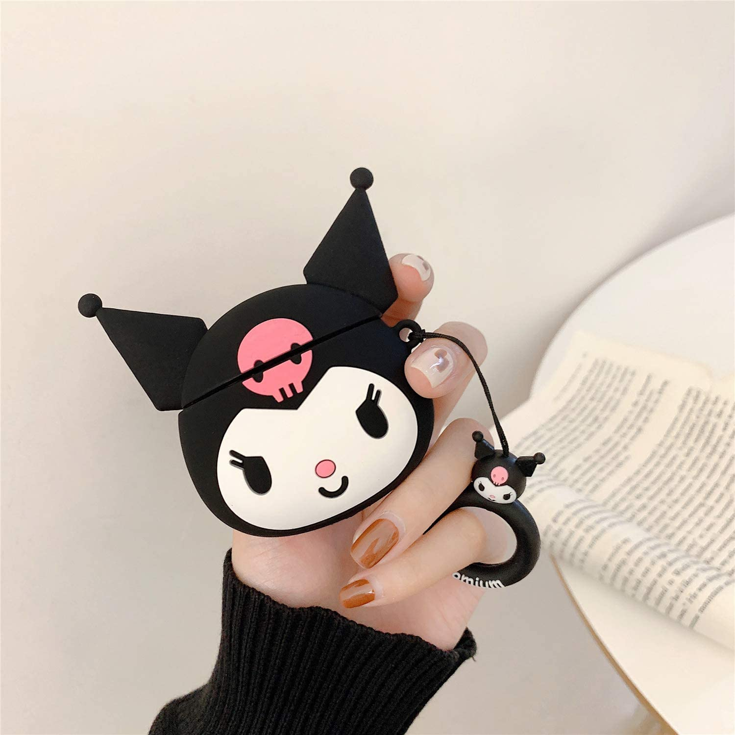 Black Kuromi iFiLOVE Compatible with Airpods Pro Case Girls Kids Cute Cartoon 3D Kuromi with Plush Ball Keychain Wristband Strap Soft Silicone Protective Case Cover for Apple Airpods Pro Case 3