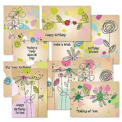 Amazon Kraft Blossoms Birthday Greeting Cards Pack Set Of 20