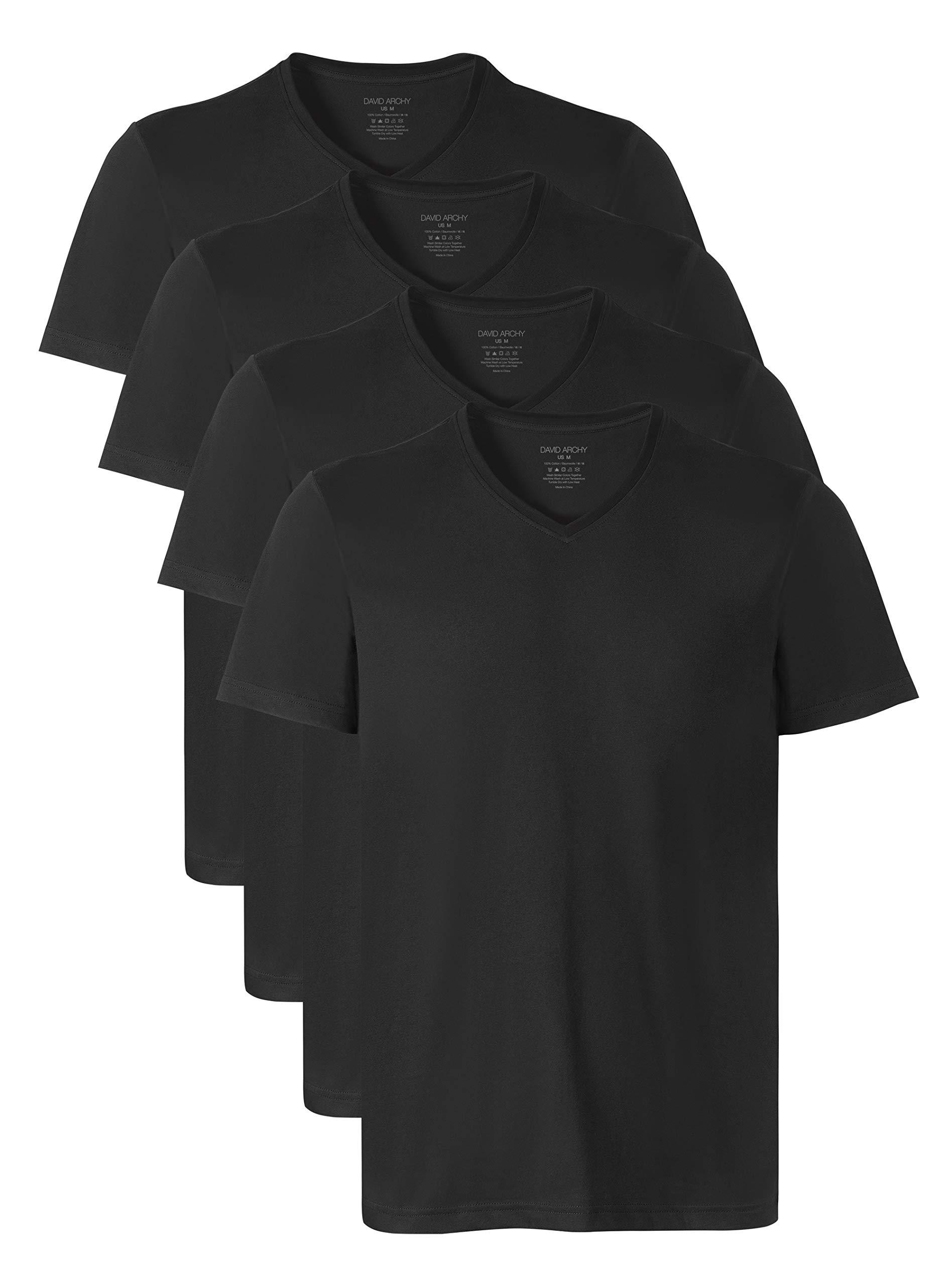 David Archy Men's Short Sleeve V-Neck Premium Cotton Undershirts T-Shirts in 4 Pack (S, Black) by David Archy