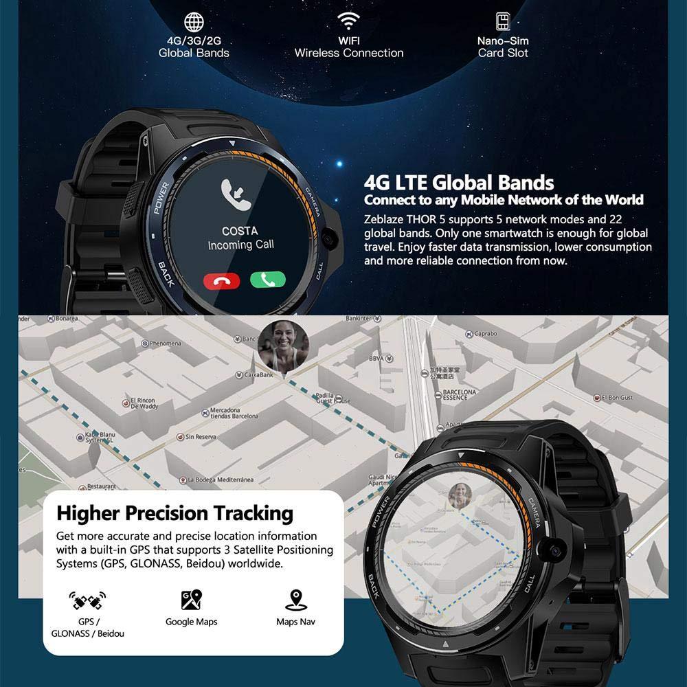 DokFin Thor 5 Dual Fitness Smartwatch, Zeblaze Thor Dual ...