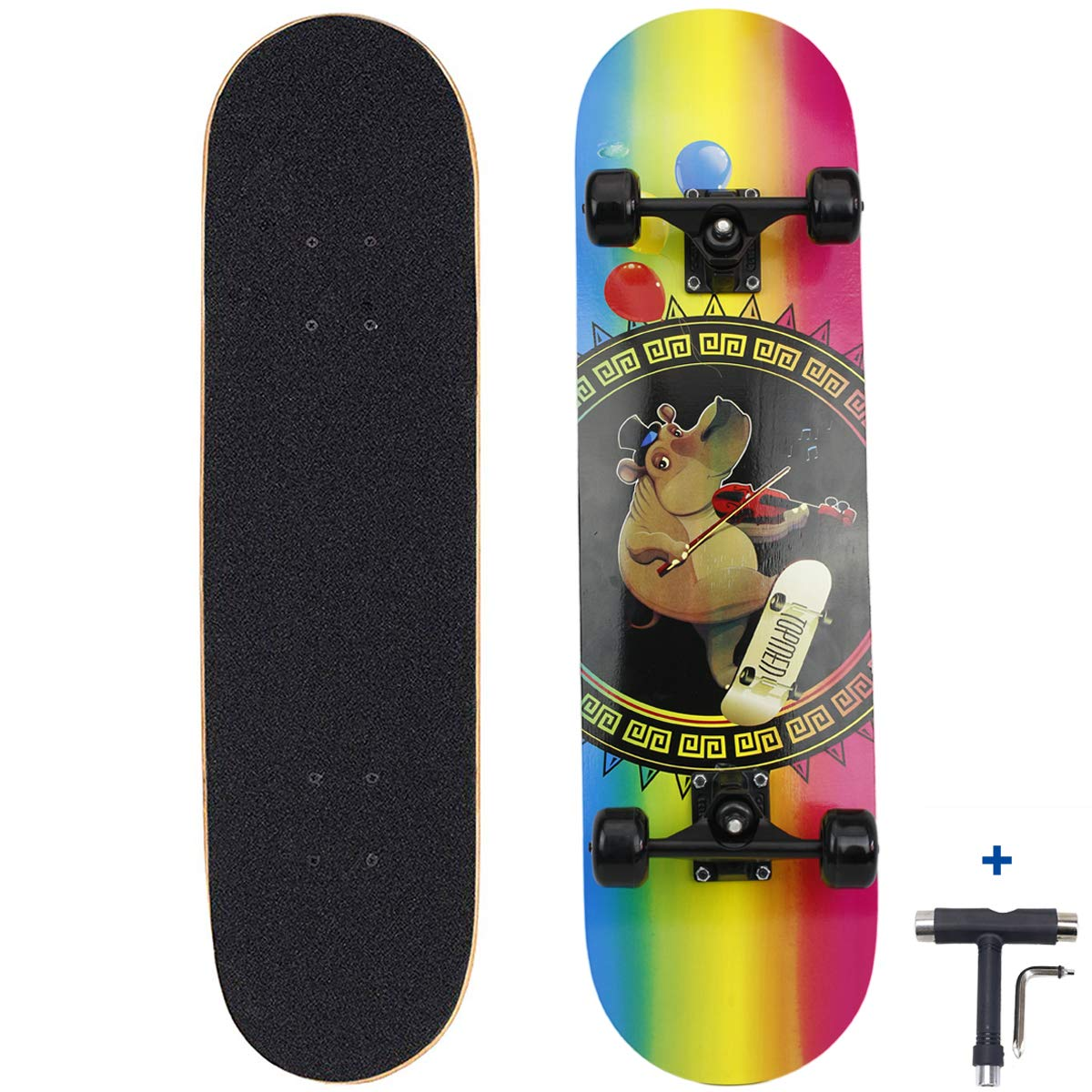 Dreambeauty 31 inch Pro Skateboard Complete,7 Layer Maple Wood Double Kick Concave Skateboards Girls Beginners Adults Boys Tricks Skateboards for Teens Kids