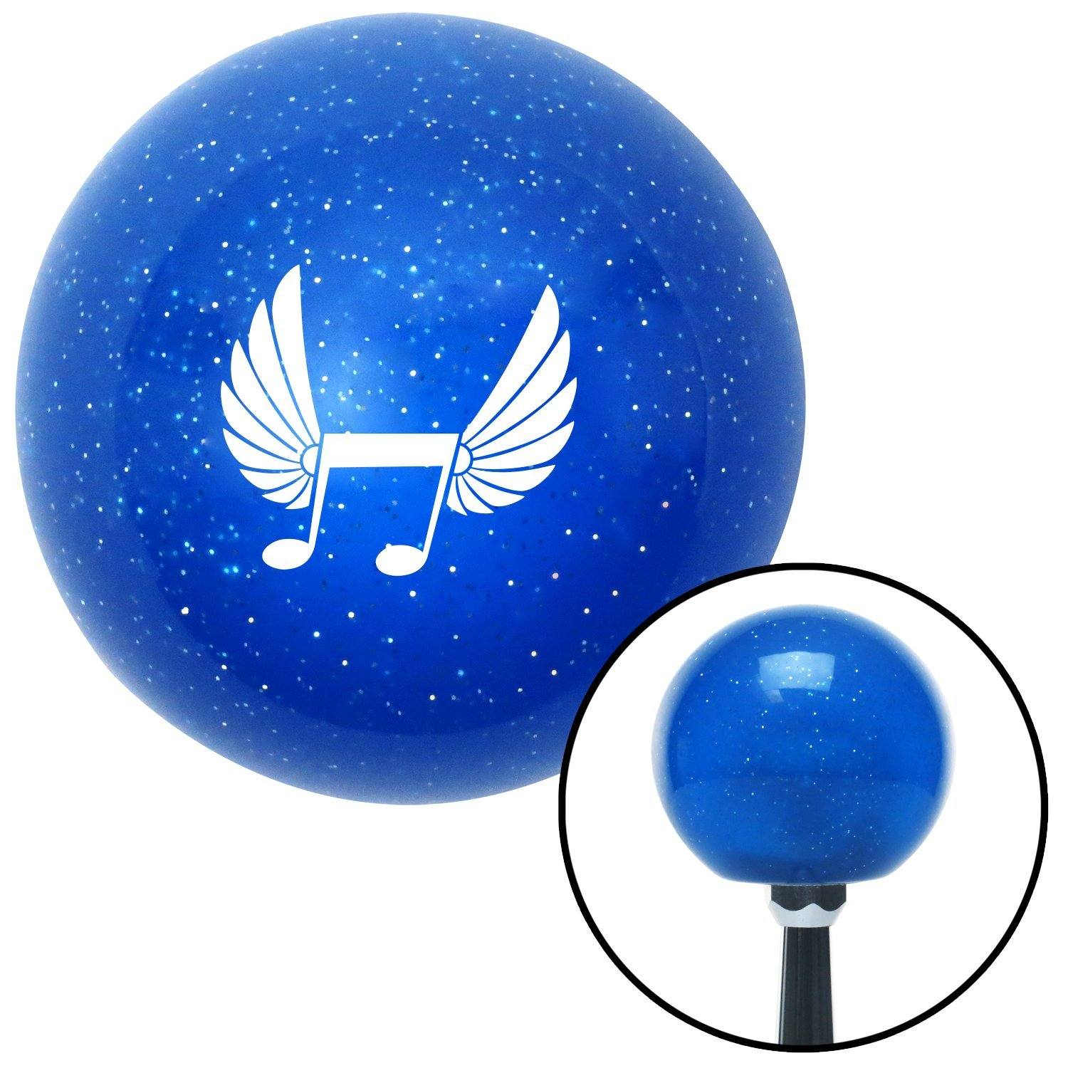 White Musical Note w//Wings American Shifter 24634 Blue Metal Flake Shift Knob