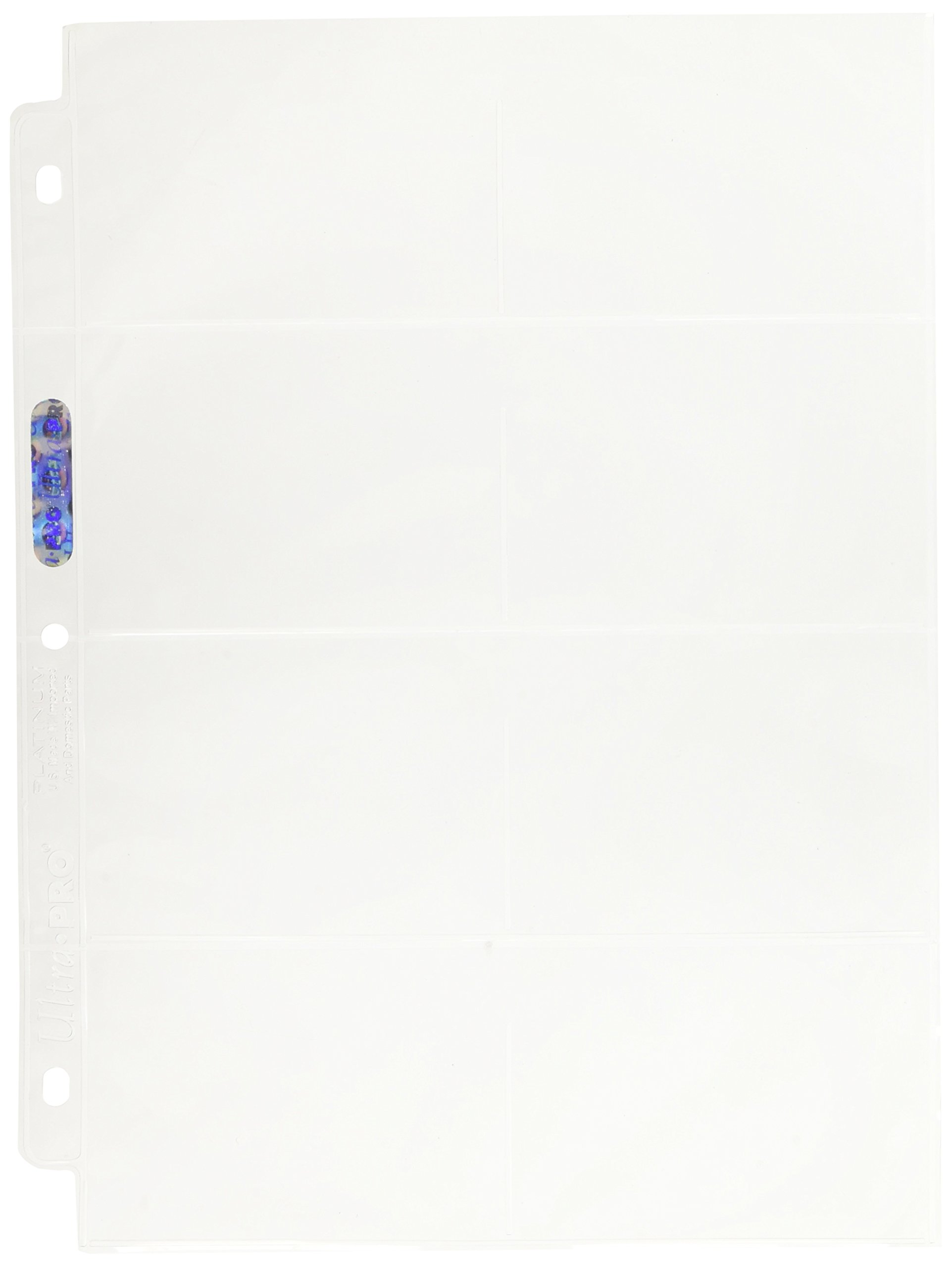 Ultra Pro 8-Pocket Platinum Page with 3-1/2'' X 2-3/4'' Pockets 100 ct.