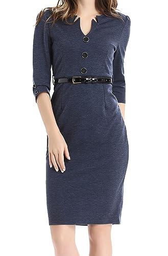 Jusfitsu Women's Vintage V-Neck 3/4 Sleeve Belt Business Pencil Cocktail Dress
