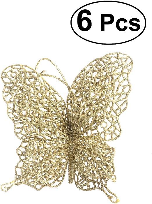 Home Wall Decor Christmas Butterflies Xmas Tree Ornaments Glitter 3D Butterfly