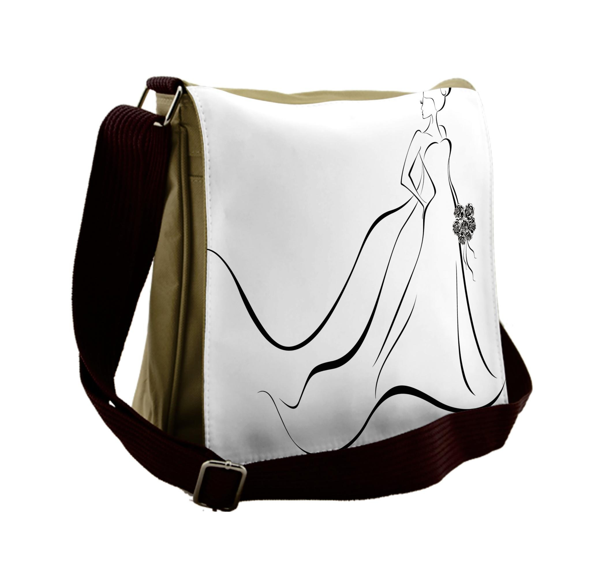 Lunarable Wedding Messenger Bag, Line Art Monochrome Bride, Unisex Cross-body