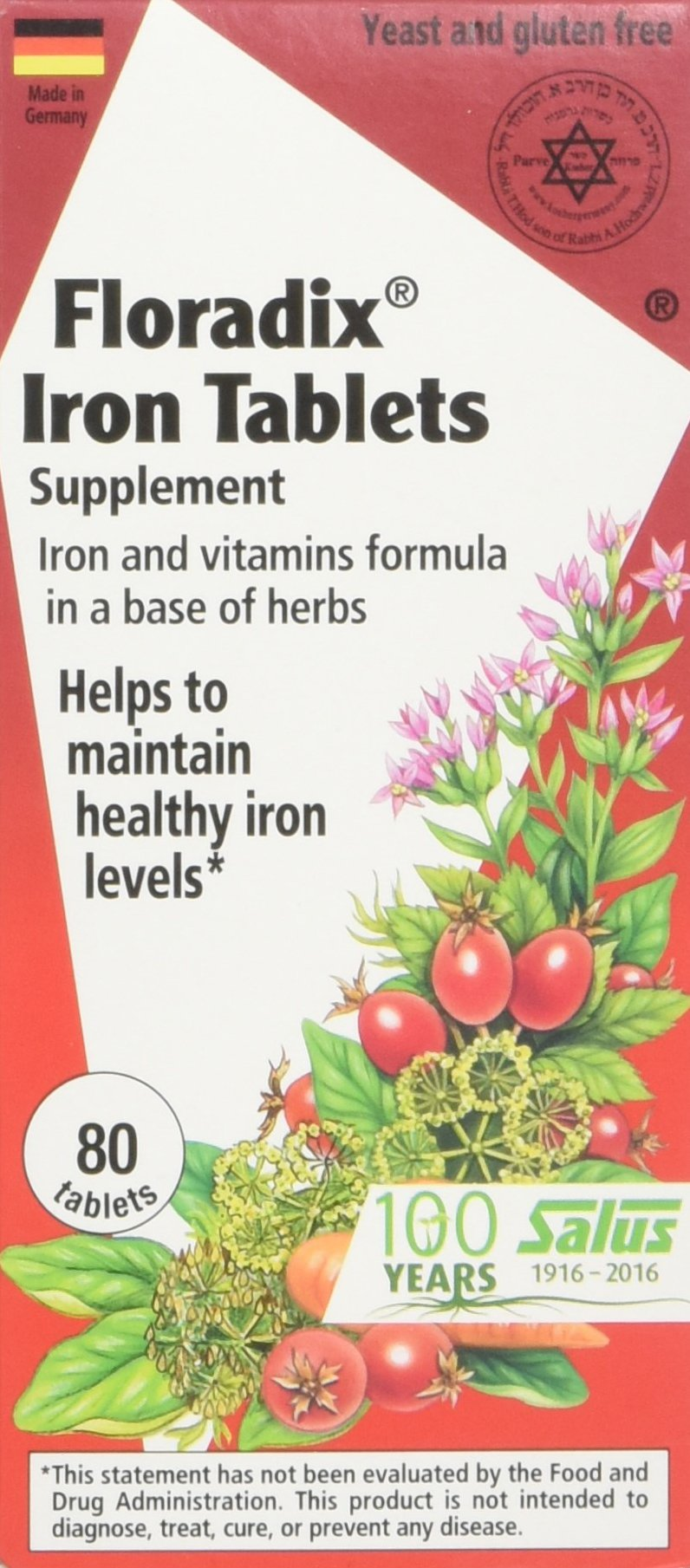 Salus-Haus - Floradix Iron Tablets - 80 count