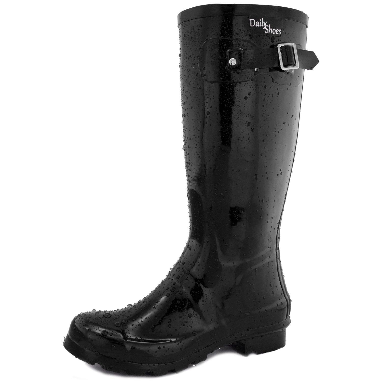 DailyShoes Women's Mid Calf Knee High Hunter Rain Boot Round Toe Rainboots, 6