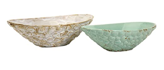 Christmas Tablescape Decor - Exotic Pastel Seashell Serving Bowls - Set of 2