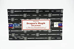 Nag Champa Incense Stick Packs - Hand Rolled & Non-Toxic - Perfect for Meditation and Yoga - Home Fragrance Gift Pack - 15g, Set of 12 Packs (Dragon's Magik)